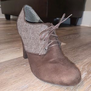 Brown Suede Winter Bootie Heel